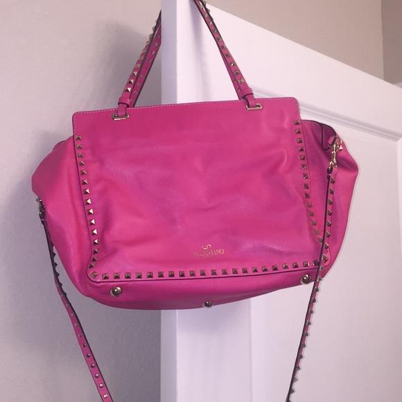 5f918400639 Valentino Garavani Bags | Valentino Rockstud Tote Medium Hot Pink ...